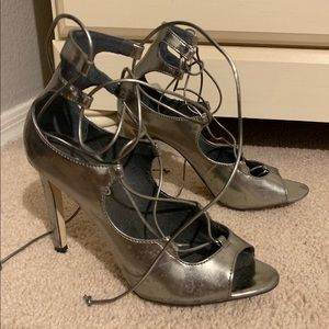Steven Madden Metallic Lace Up Heels